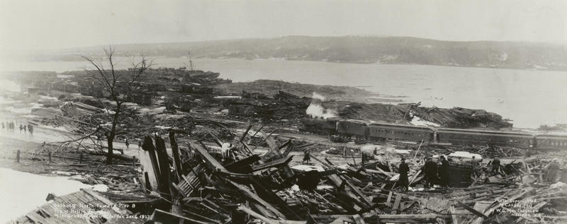Panoramic view of the destruction caused by the explosion