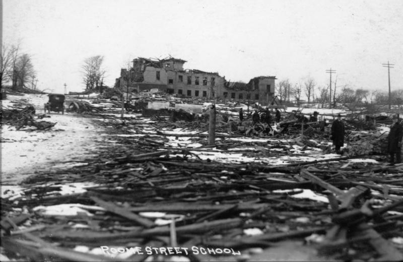 A demolished school in Halifax after the explosion
