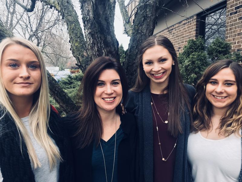 A small group of women (including some not pictured here) have met up to share and process their alleged abuse by Dr. Larry Nassar. From left: Christine Harrison, Larissa Boyce, Jennifer Smith, and Alexis Alvarado