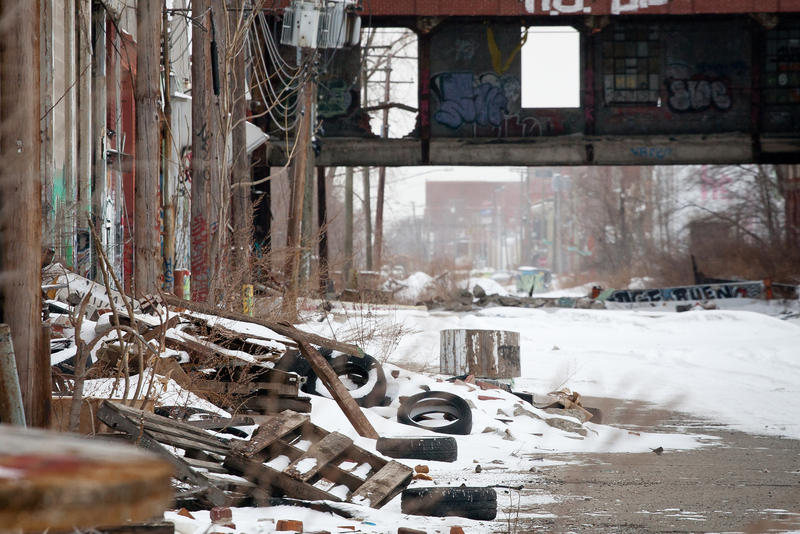 A Detroit street with trash on the side
