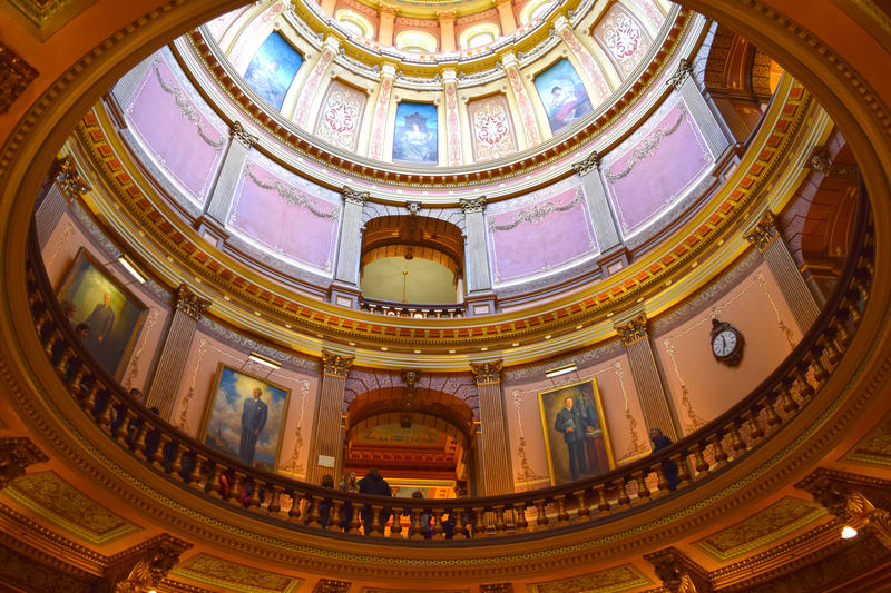 Inside the state Capitol building.