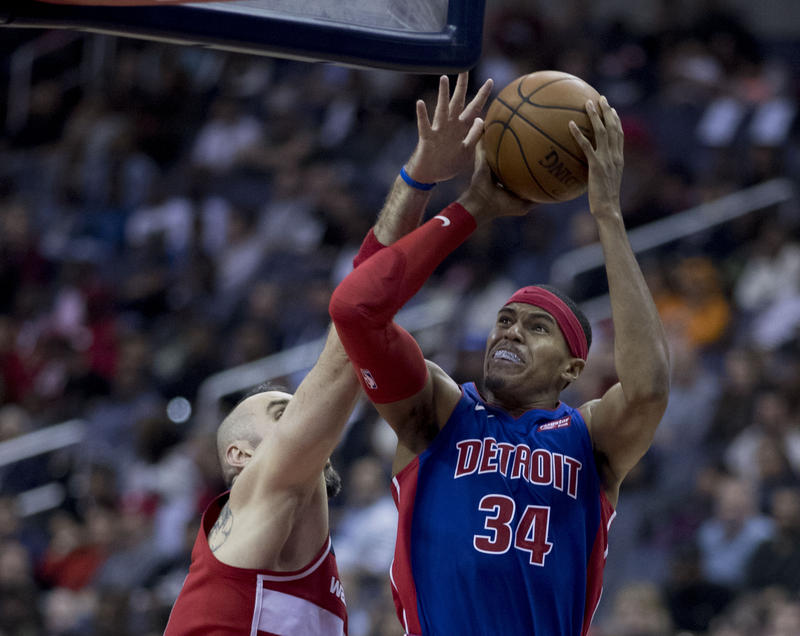 "The Pistons were the one team that diverged from mediocrity, Bacon said. He said they're ""above average.""  Pictured: The Pistons' Tobias Harris"