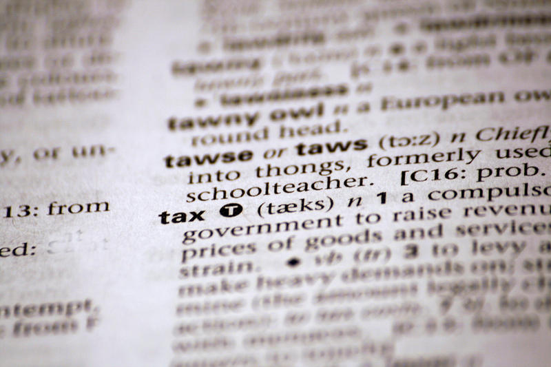 dictionary entry for the word tax