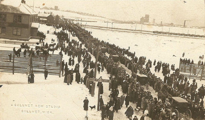 A funeral procession for the victims of the Italian Hall Disaster