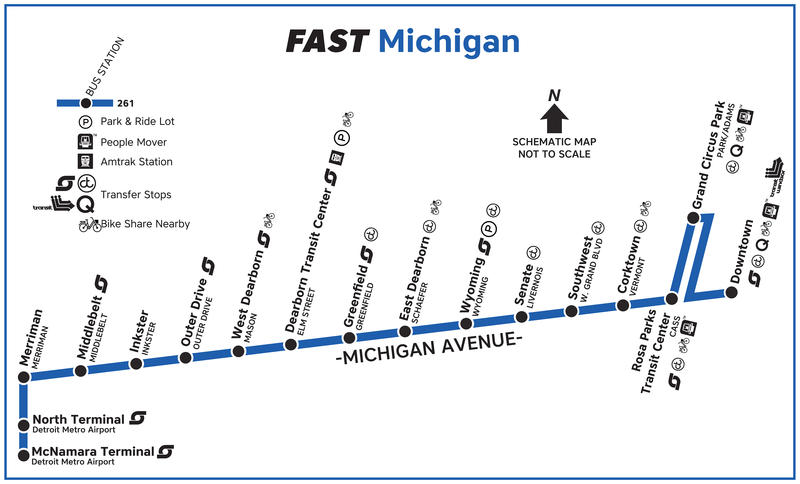 The FAST bus route along Michigan Ave.