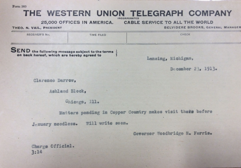 Telegram from Governor Woodbridge the day before the Italian Hall incident