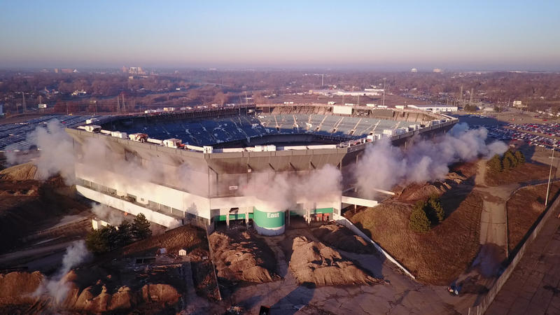 Pontiac Silverdome implosion attempt.