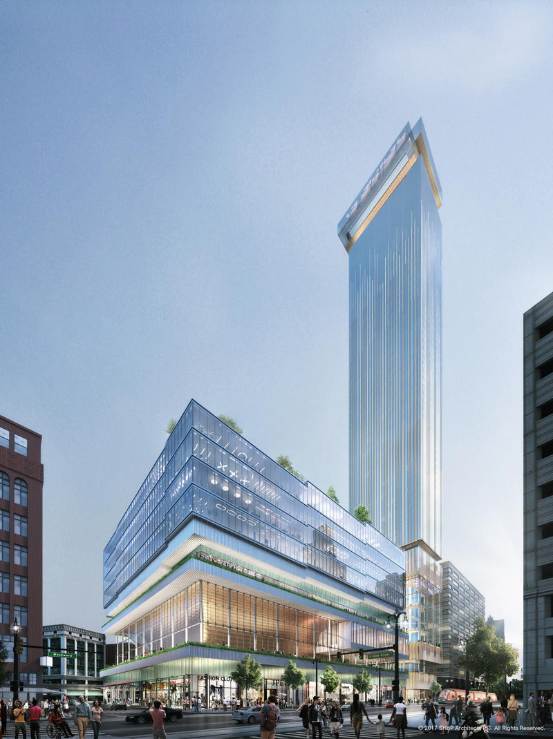 An artist's rendering of the as-yet-unnamed planned development on the former Hudson's site.