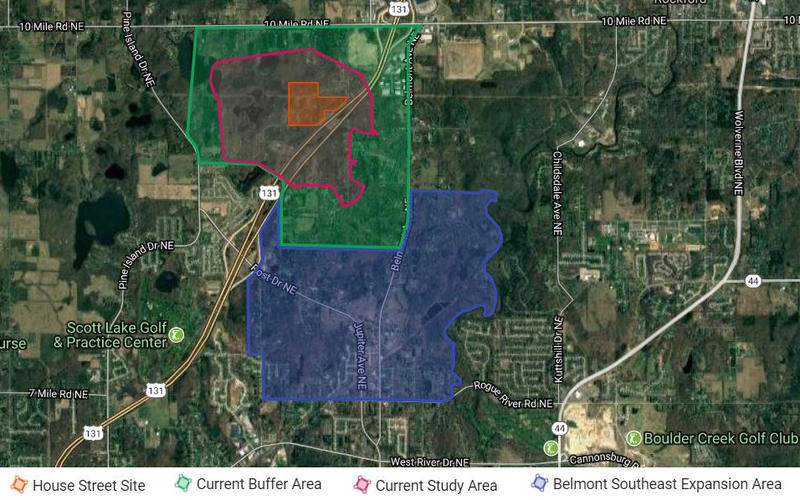The DEQ PFAS Investigation Map near Rockford, MI