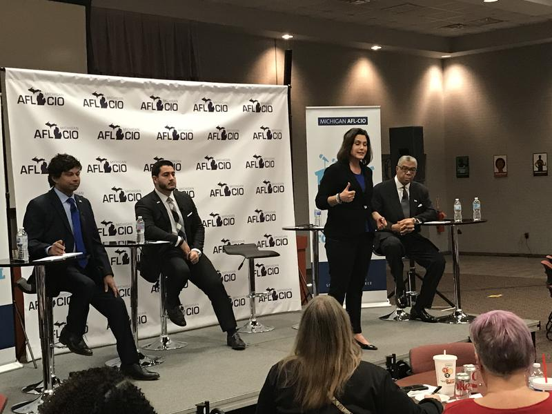 The four Democrats hoping to be next elected Governor of Michigan. (Left to right) businessman Shri Thanedar, Former Detroit Health Department Director Abdul El-Sayed, former state lawmaker Gretchen Whitmer (standing) and former Xerox executive and Detroi