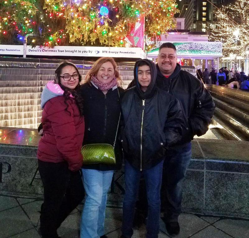 From left to right, Soleil (15), Cindy (mother), Jorge (12), and Jorge (father) Garcia