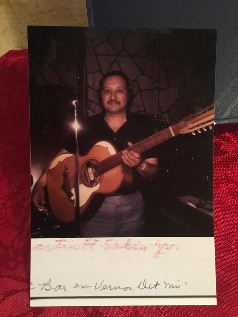 Photo taken in the late 1970s of Martin Solis with his bajo sexto.