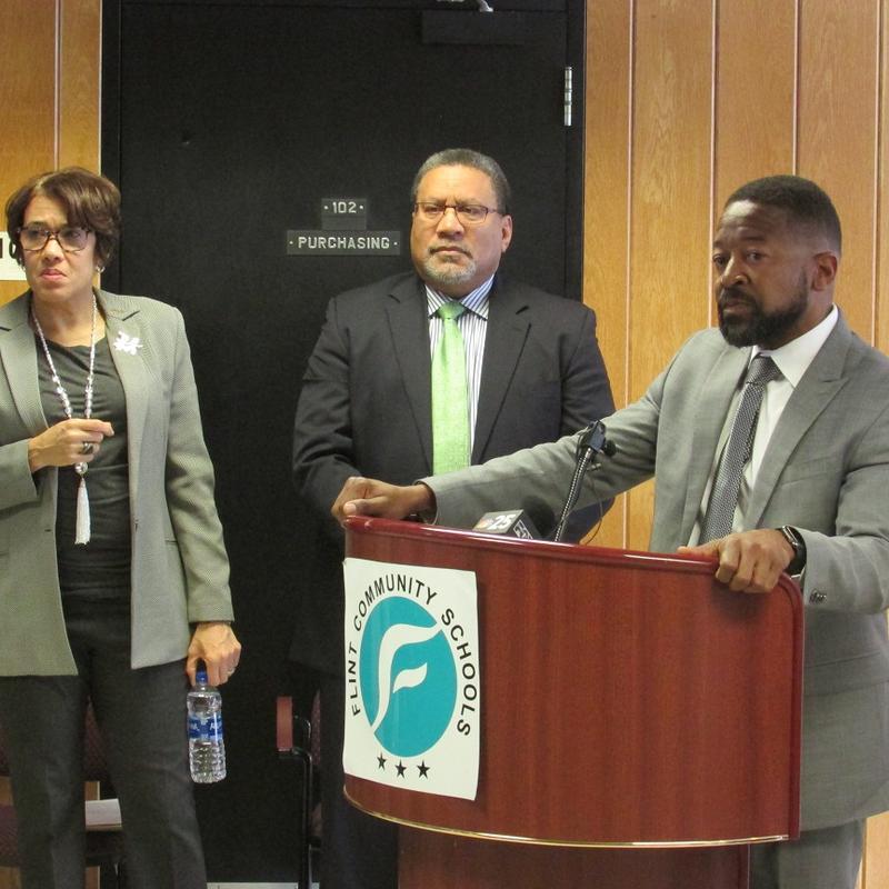 Bilal Tawwab, Dr. Lawrence Reynolds, and Flint Mayor Karen Weaver