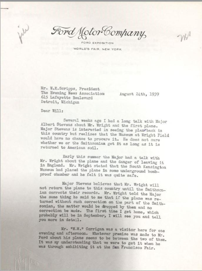 A letter from the Ford Motor Company's Frank Black to W. E. Scripps about the campaign to bring the Wright Flyer to the United States, specifically to Greenfield Village and the Henry Ford Museum.