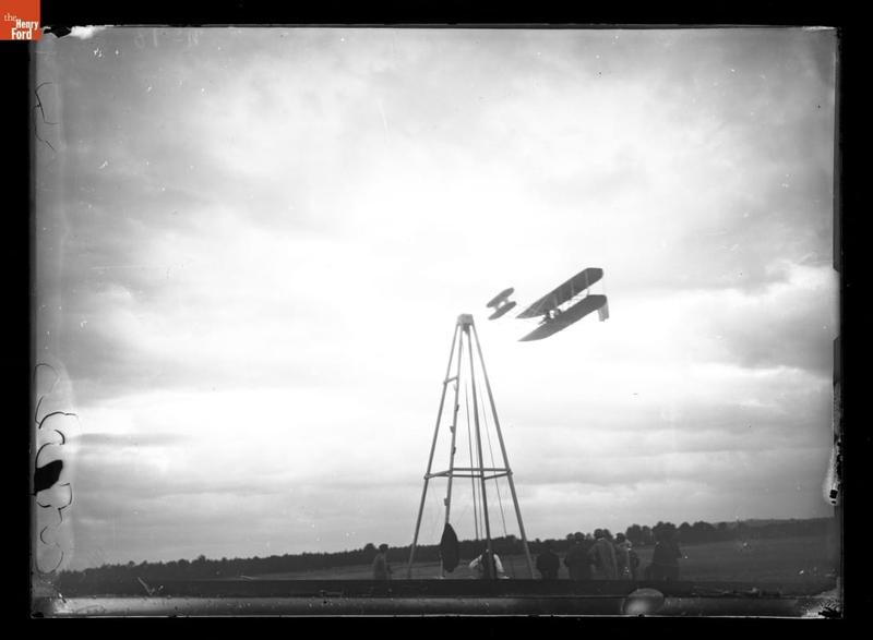 Wright Airplane flying neat Launching Derrick, Camp d'Avours, near Le Mans, France 1908