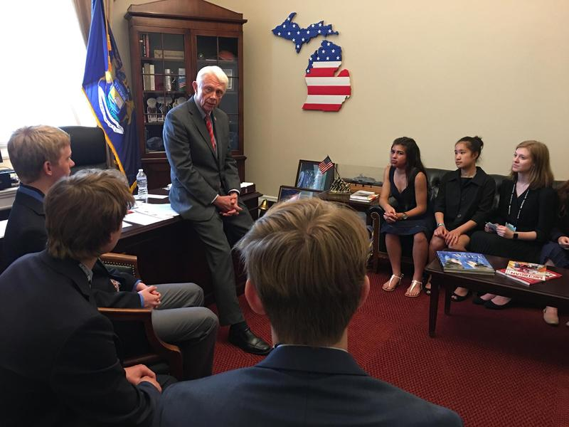 Rep. Jack Bergman speaks with Traverse City Central High School students at a meeting in Washington, D.C. in June 2017.