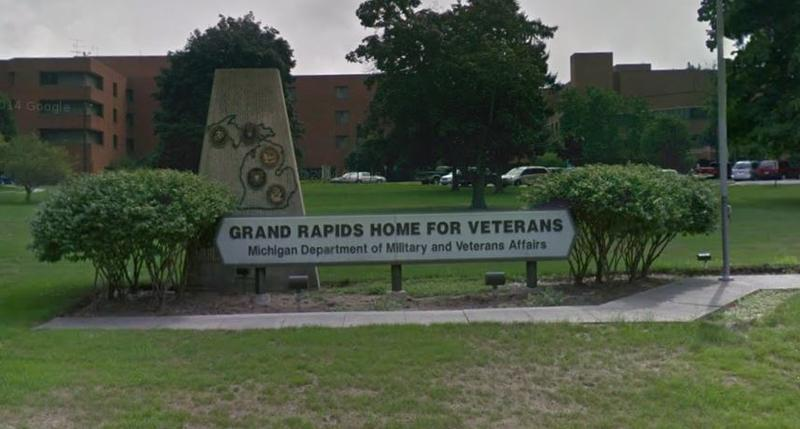 Sign in front of Grand Rapids Home for Veterans