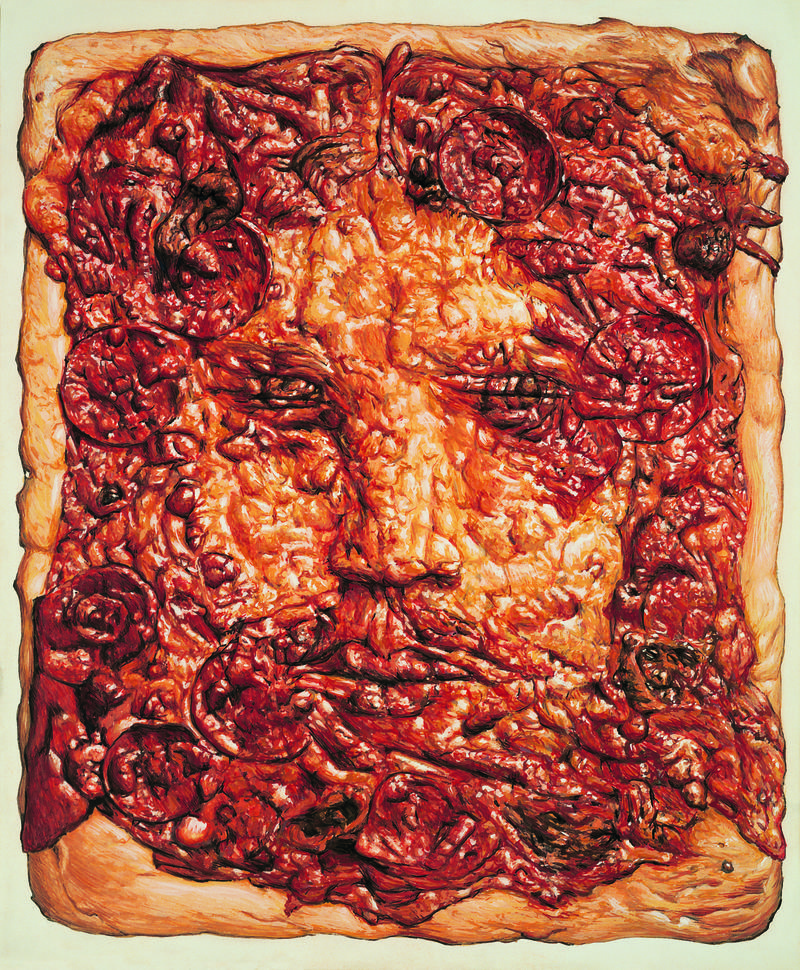 Jim Shaw, Icon (Pizza Face), 1990. Gouache on board. Collection of Barry Sloane, Los Angeles.