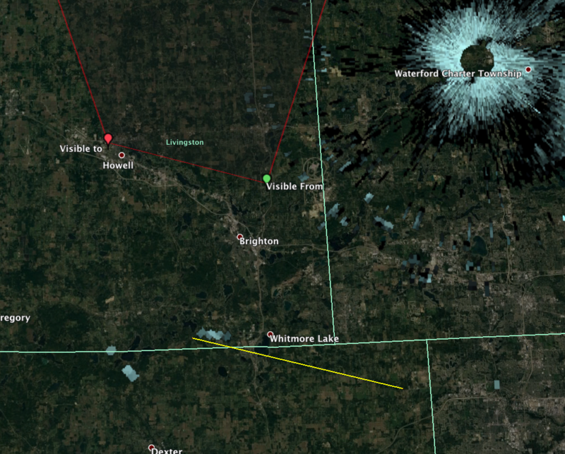 The red line is the American Meteor Society's estimated meteor path based on eyewitness reports. The yellow line is likely the actual trajectory based on the location of the meteorites found and the witness reports. The white blip are the meteorites.