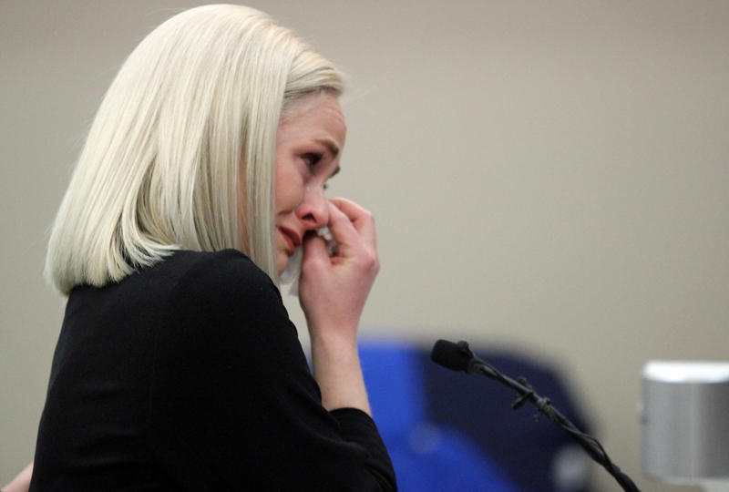 """Olivia Cowan cries as she gives her testimony. Now a mother of two, she told Nassar, """"I will educate my children about monsters like you, and pray to God they will never experience pain like this."""""""