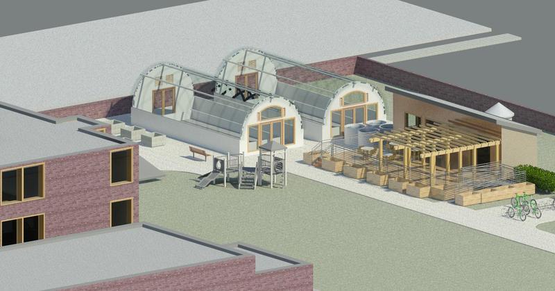 An artist's rendering of the Parker Village community center