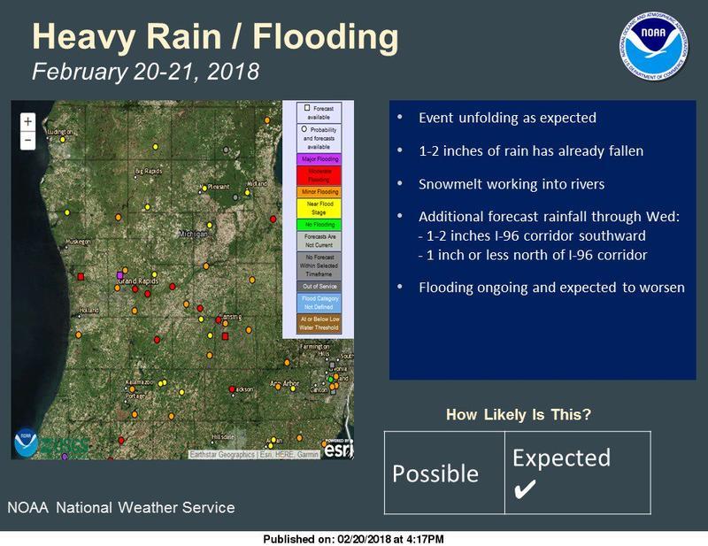 Map of Michigan flood warnings