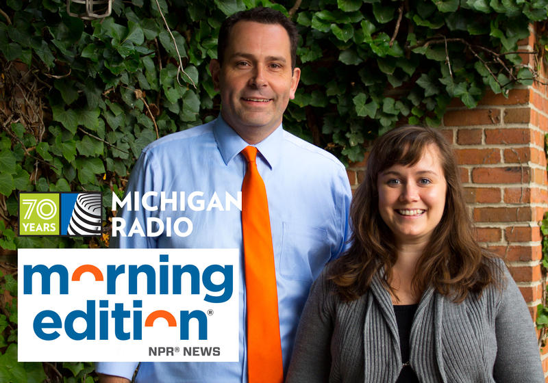 Morning Edition host Doug Tribou and producer Lauren Talley