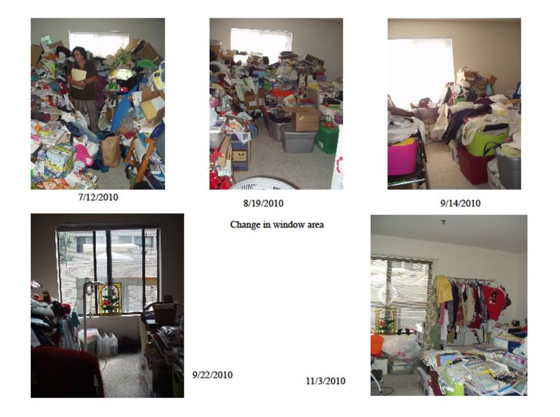 The progression of a cleanup of a room of someone with hoarding disorder.