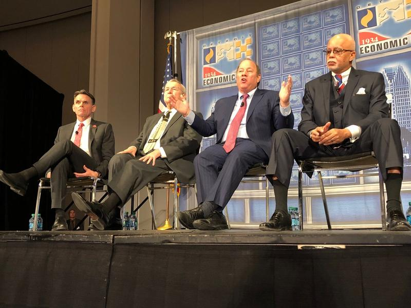 Macomb County Executive Mark Hackel, Oakland County's L. Brooks Patterson, Detroit Mayor Mike Duggan, and Wayne County's Warren Evans at an event in January.