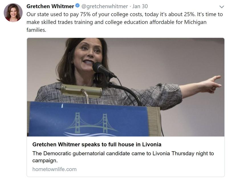 gretchen whitmer twitter post on college affordability