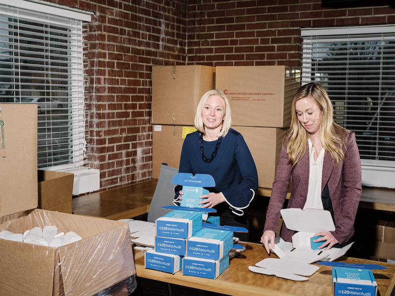 120WaterAudit Co-founder Megan Glover (left) packing water-testing kits. The Indianapolis-based company is one of several tech companies planting roots in the Midwest instead of Silicon Valley.