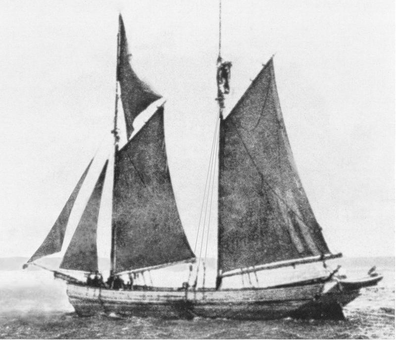 An old image of a two-masted schooner ship