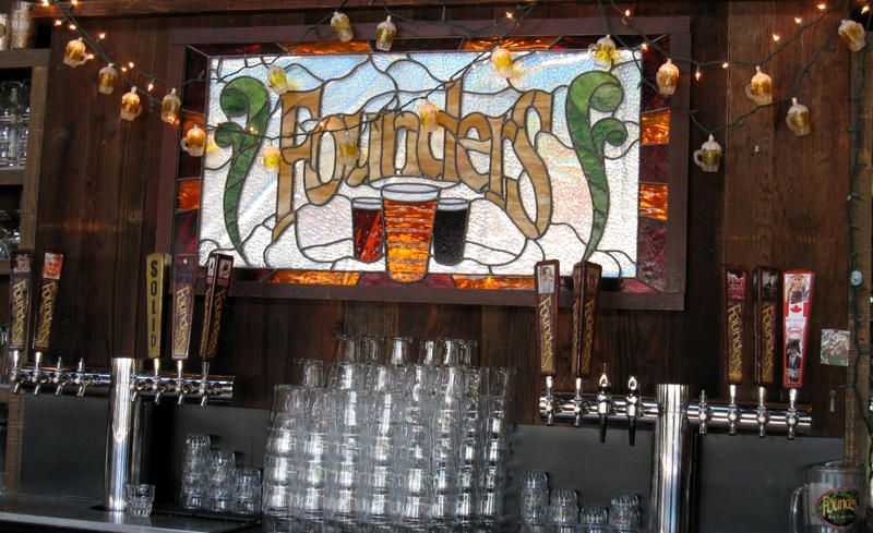 The bar at Founders Brewing Company in Grand Rapids.