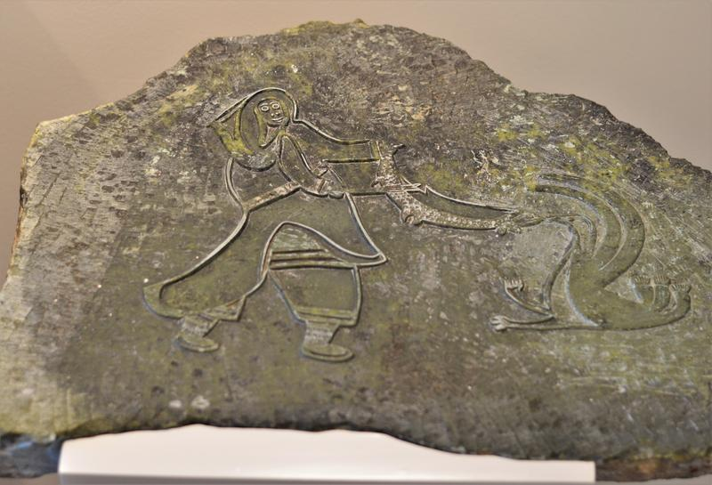 The Baffin Island Inuit artists use carved stone as printing plates. Next photo is a print from this plate.