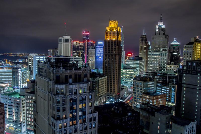 Detroit skyline.