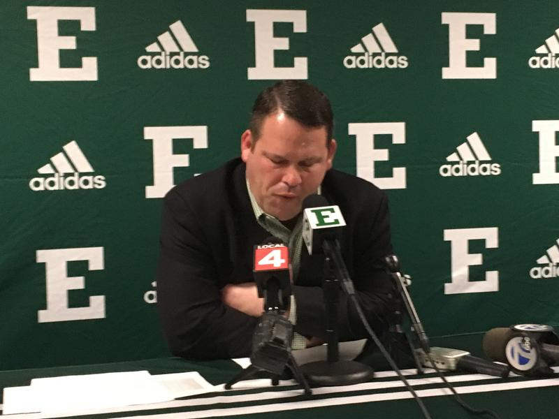 EMU VP and Director of Athletics Scott Wetherbee becomes emotional as he announces cuts.