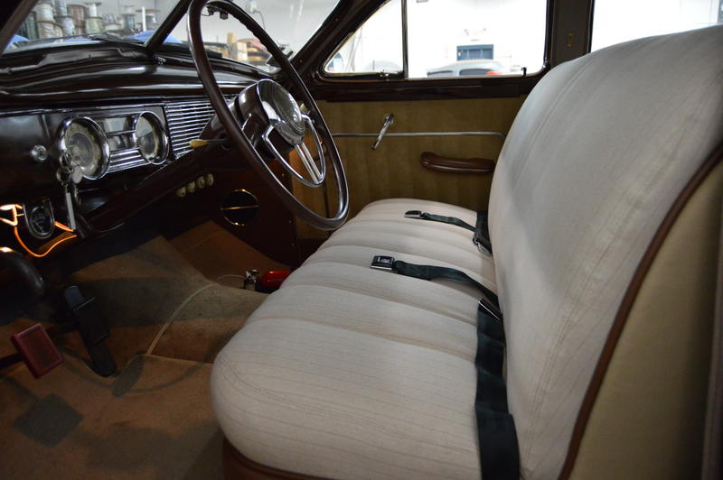A restored upholstery in a Packard.