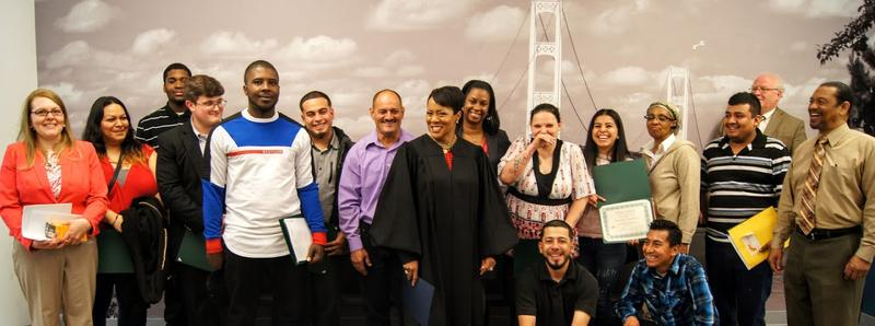 A Community Court graduation with Judge Shannon A. Holmes of Detroit's 36th District Court.