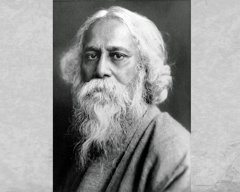 A black and white photo of Rabindranath Tagore