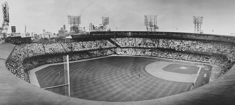 A black and white photo of Tiger Stadium with the stands full
