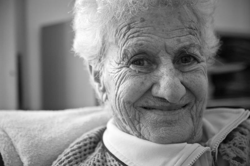 An elderly Italian woman with Alzheimer's.