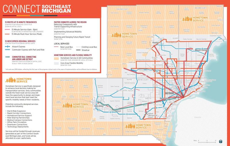 "A map of new transit services proposed in the ""Connect Southeast Michigan"" plan."