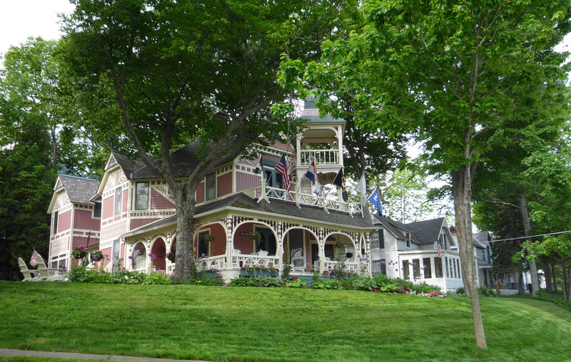 Cottages, Bay View, Michigan, USA. Founded in 1875, Bay View is a religious resort community, an early version of a middle-to-upper class American resort.