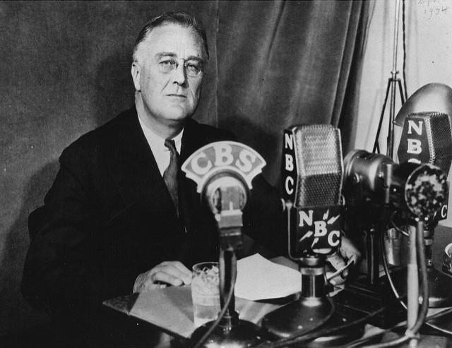 President Roosevelt delivering Fireside Chat #6. September 30, 1934