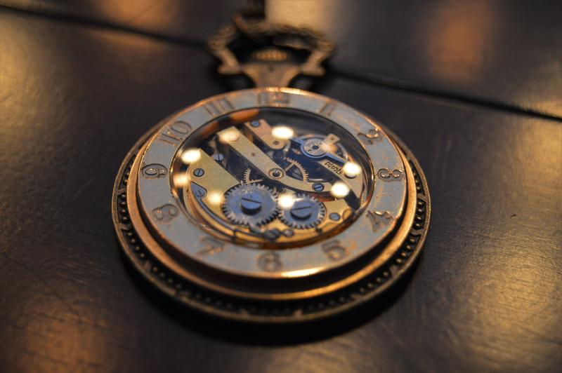 A Scared Crow Steamworks' piece of steampunk jewelry.