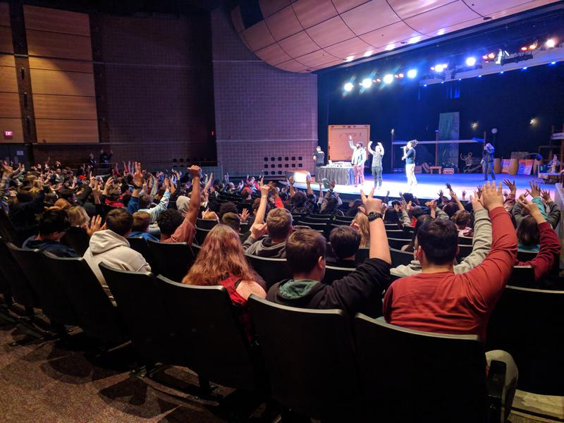 Students in a school auditorium