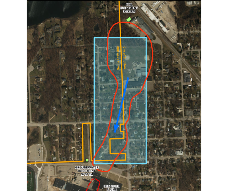 A map of the Holly Rd. plume shows the reach of the toxic groundwater.