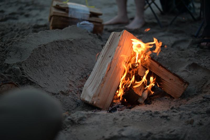 bonfire on beach close up