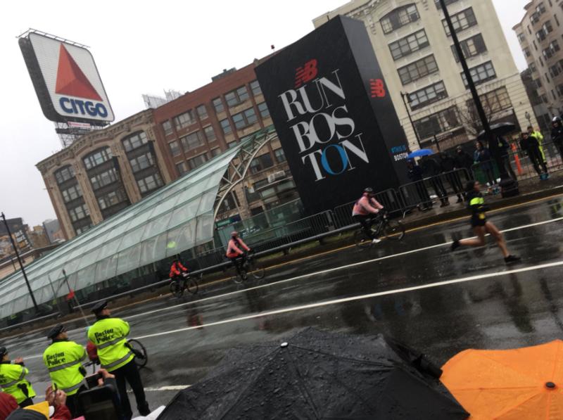 Desiree Linden races in Boston on Monday.