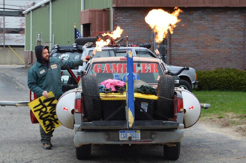 Gambler car shooting flames